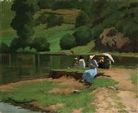 donne in riva ad uno specchio d'acqua by ernesto alcide campestrini