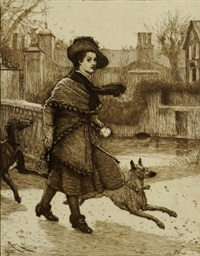 young woman walking two dogs in the winter (+22 others; 23 works) by robert walker macbeth