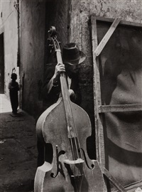 man with contrabass by lola alvarez bravo