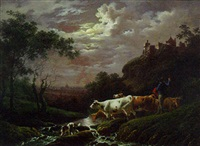 a moonlit landscape with a drover, cattle and a dog, castle and town beyond by charles towne the younger