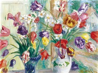 still-life with tulips by istván boldizsár