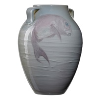 early iris vase with carp by j. d. wareham