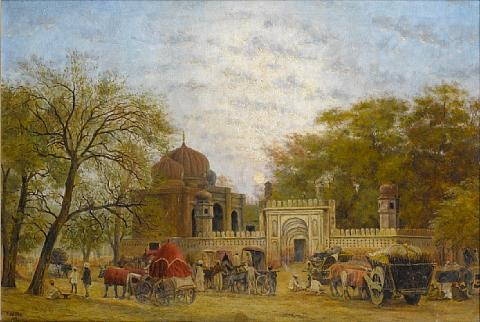 indian scene at dusk by frederick william john shore