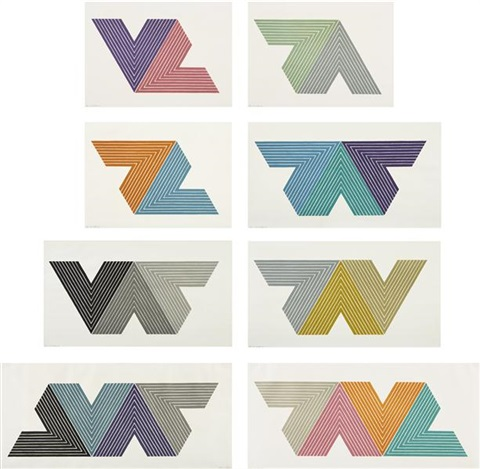 v series set of 8 by frank stella