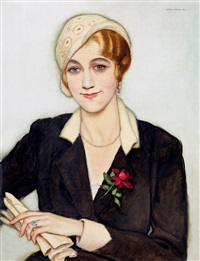 art deco woman in a hat by istvan zador