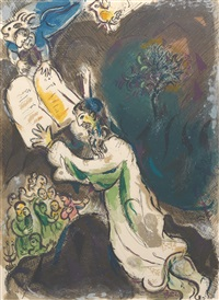 two tablets of the testimony by marc chagall