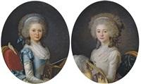 portrait d'emilie-angélique de sérent, duchesse de narbonne-pelet (+ portrait d'anne-félicité-simone de sérent, duchesse de damas-cruz; pair) by antoine vestier