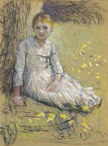 study of a young girl leaning against a tree by sir george clausen