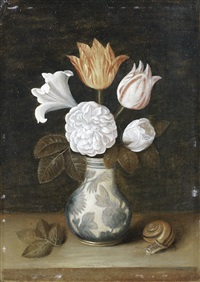 roses, a lily and variegated tulips in a blue and white vase, with a snail nearby by ambrosius bosschaert the elder