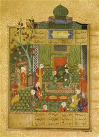 nizami's haft paykar: king bahram in the green pavilion listening to the story of the princess of the third clime by anonymous-persian-safavid (16)
