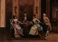 a fashionable company playing chess by frederick lenditz