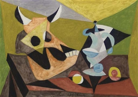 Nature morte au crâne de taureau by Pablo Picasso on artnet