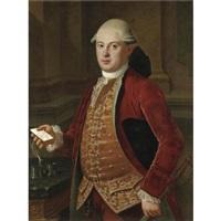 ritratto di gentiluomo con giacca rossa e panciotto ricamato by pietro labruzzi
