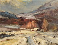 an impressionistic winter scene with mountainous homestead engulfed in snow drifts by ernest lawson