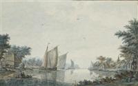 des voiliers et une barque au bord d'un rivage: vue présumée de alphen aan den rijn by theodor (dirk) verryck
