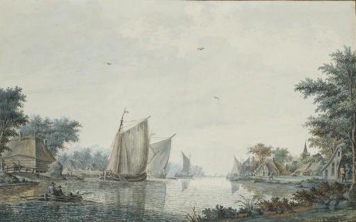 des voiliers et une barque au bord dun rivage vue présumée de alphen aan den rijn by theodor dirk verryck