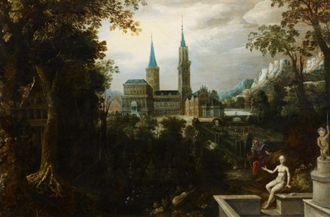 bathseba am brunnen in parklandschaft by lucas van valkenborch