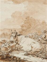 berger et son troupeau by jean-baptiste antoine tierce