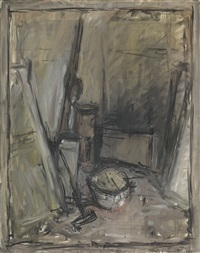 coin d'atelier avec poële et balai by alberto giacometti
