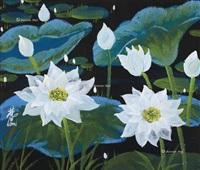 白荷图 镜片 设色纸本 (white lotus) by lin fengmian