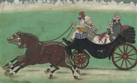 european and an indian riding in a carriage in the punjab by muhammad kaha