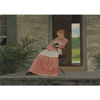 girl reading on a stone porch by winslow homer