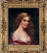 portrait de jeune fille blonde, les cheveux dénoués, deux boutons de rose ornant sa gorge by maurice jacquet