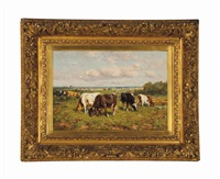 cows at pasture by johannes hubertus leonardus de haas