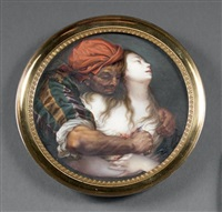 jeune femme poignardée par un oriental by g. godeau