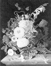still life of flowers in a vase by beatrice cotton