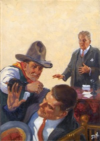 banker shocked at fist fight occuring on his premises by harry t. fisk