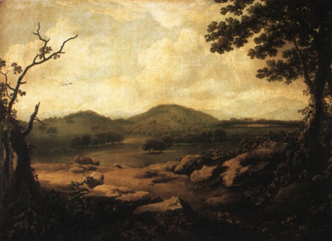 landscape with a distant view of a house by jonathan fisher