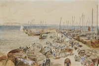 newhaven harbour on the firth of forth (+ leith harbour, edinburgh; pair) by samuel bough