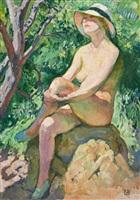 nude with crossed legs in a panama hat by théo van rysselberghe