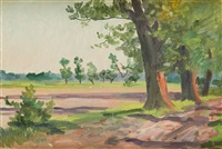 pejzaż z drzewami by woiciech (aldabert) ritter von kossak