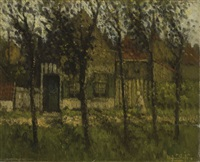 farm amongst trees (+ road, lrgr; 2 works) by henri van daalhoff