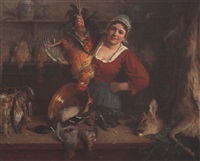 jeune femme et trophées by aloys eckardt