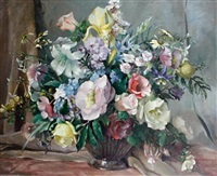 still life with mixed summer flowers by colin cairness clinton campbell