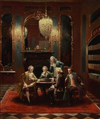 five men around a table playing chess by bruno blätter
