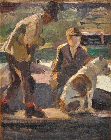 personajes con perro en un bote by fernando fader