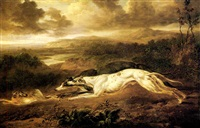 a pair of greyhounds chasing a hare by charles towne the younger