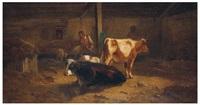 fermier avec ses vaches dans l'étable by andré cortes