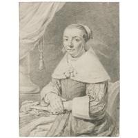 portrait of a seated woman holding a fan by cornelis visscher