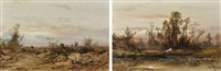 paysages animés (+ another; pair) by louis hippolyte le bas