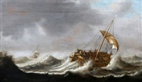 zeilschip in zwaar weer by dutch school (18)