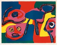 visage; une famille (2 works) by karel appel