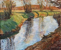 spring day with a stream by wolfgang von websky