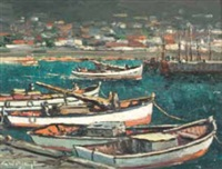 a harbor scene with boats and fishermen by george william pilkington