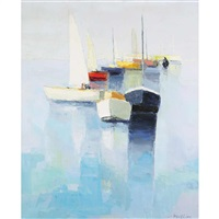 barques sur mer calme by joseph muslin