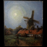 figures by windmill under moonlight by georges chavignaud